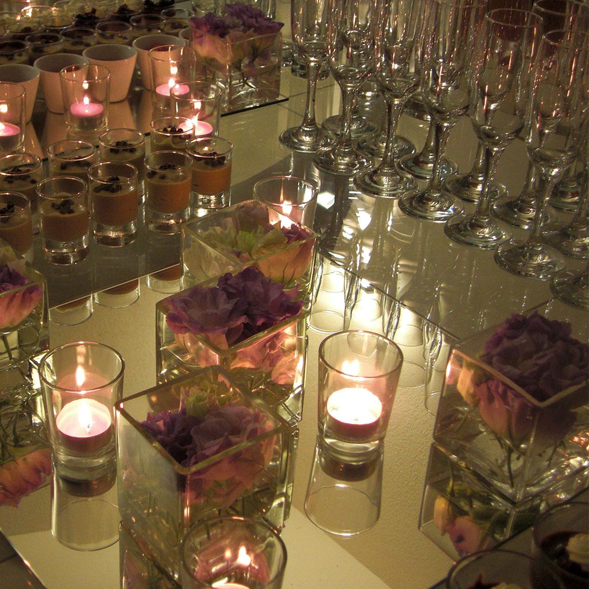 Centrotavola con candele | Negriricevimenti.com